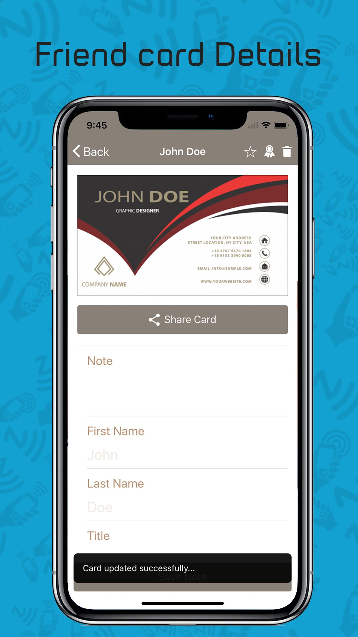 Card Sharing App in Ionic using NFC and Firebase Screenshot 9