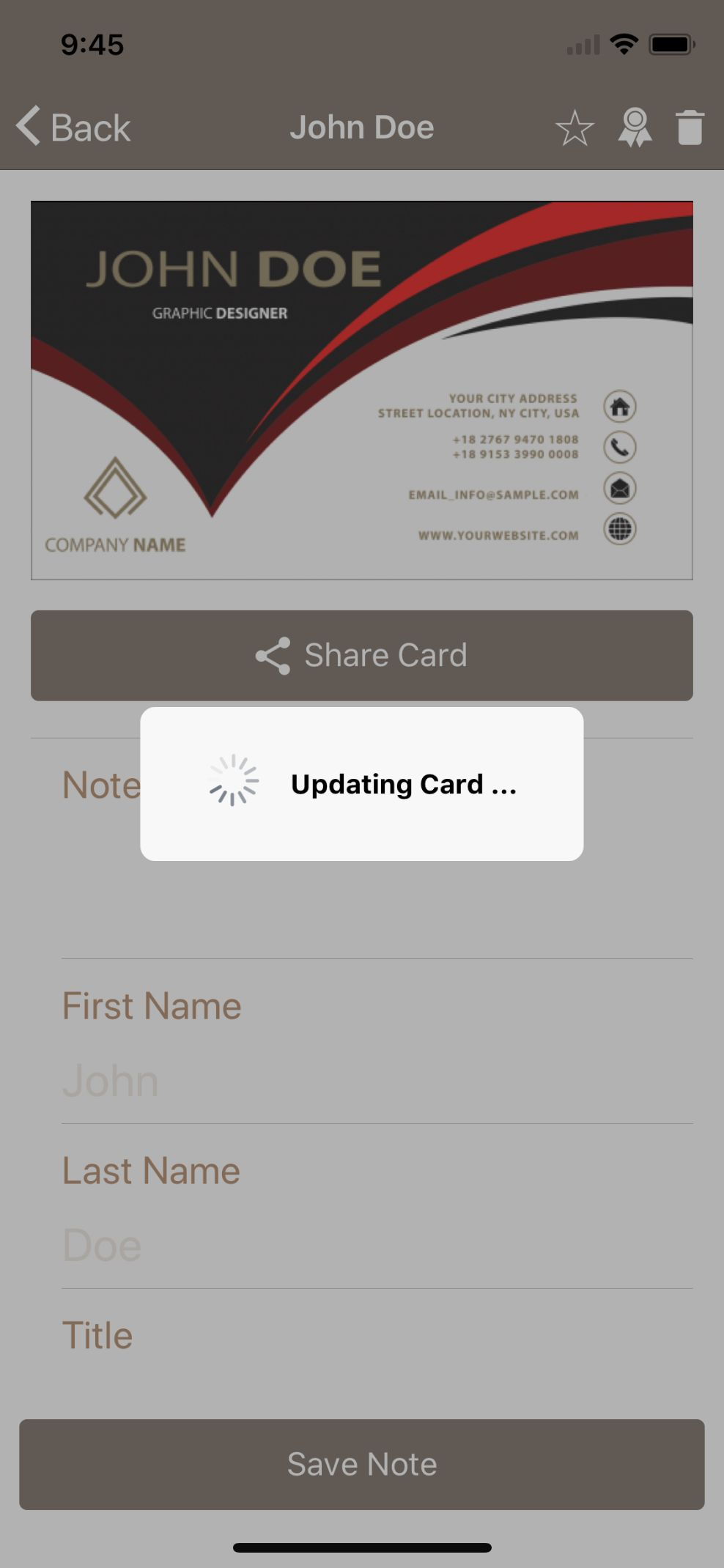 Card Sharing App in Ionic using NFC and Firebase Screenshot 12