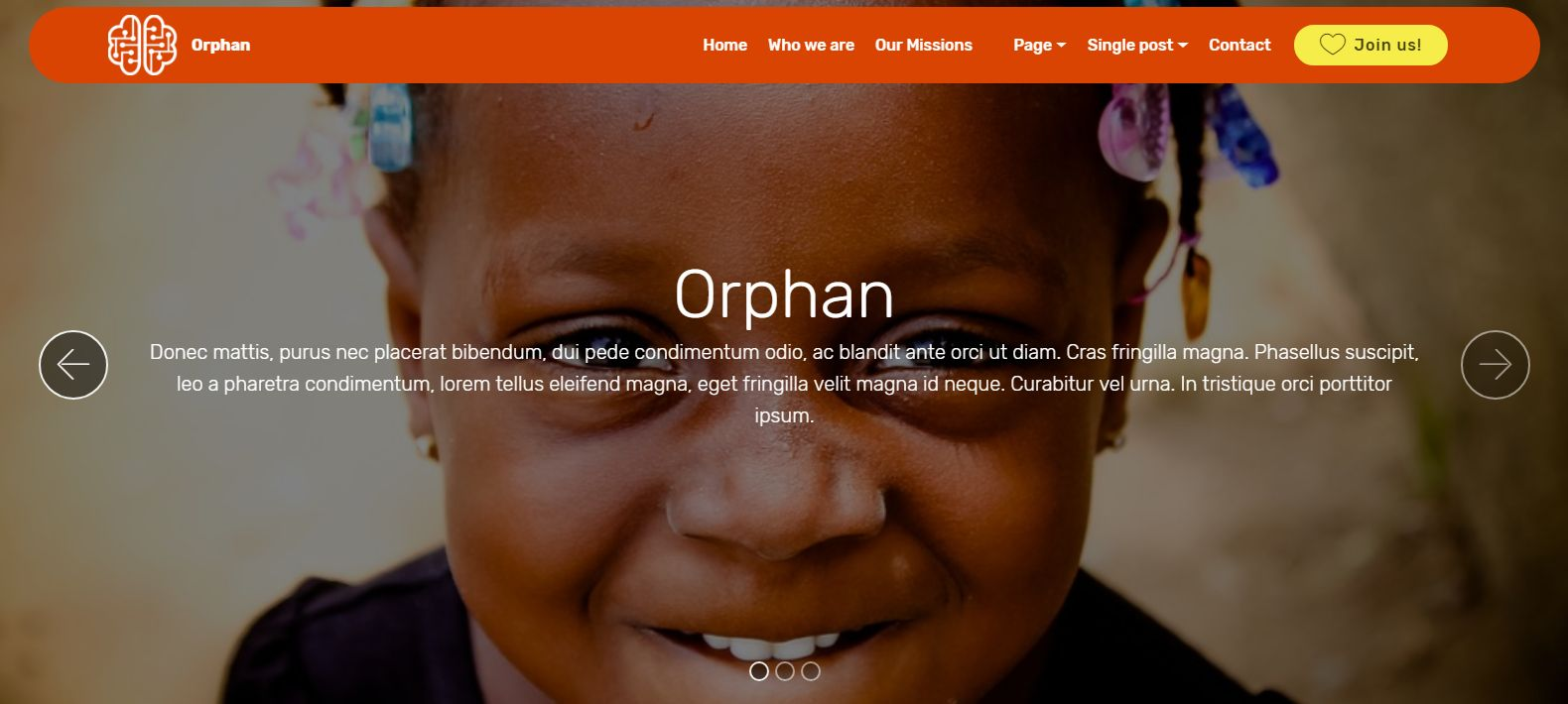 Orphan- Bootstrap Organisation Theme Screenshot 1