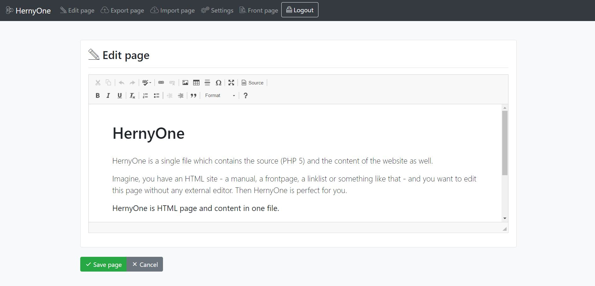 Hernyo One - Flat-file CMS PHP Screenshot 1