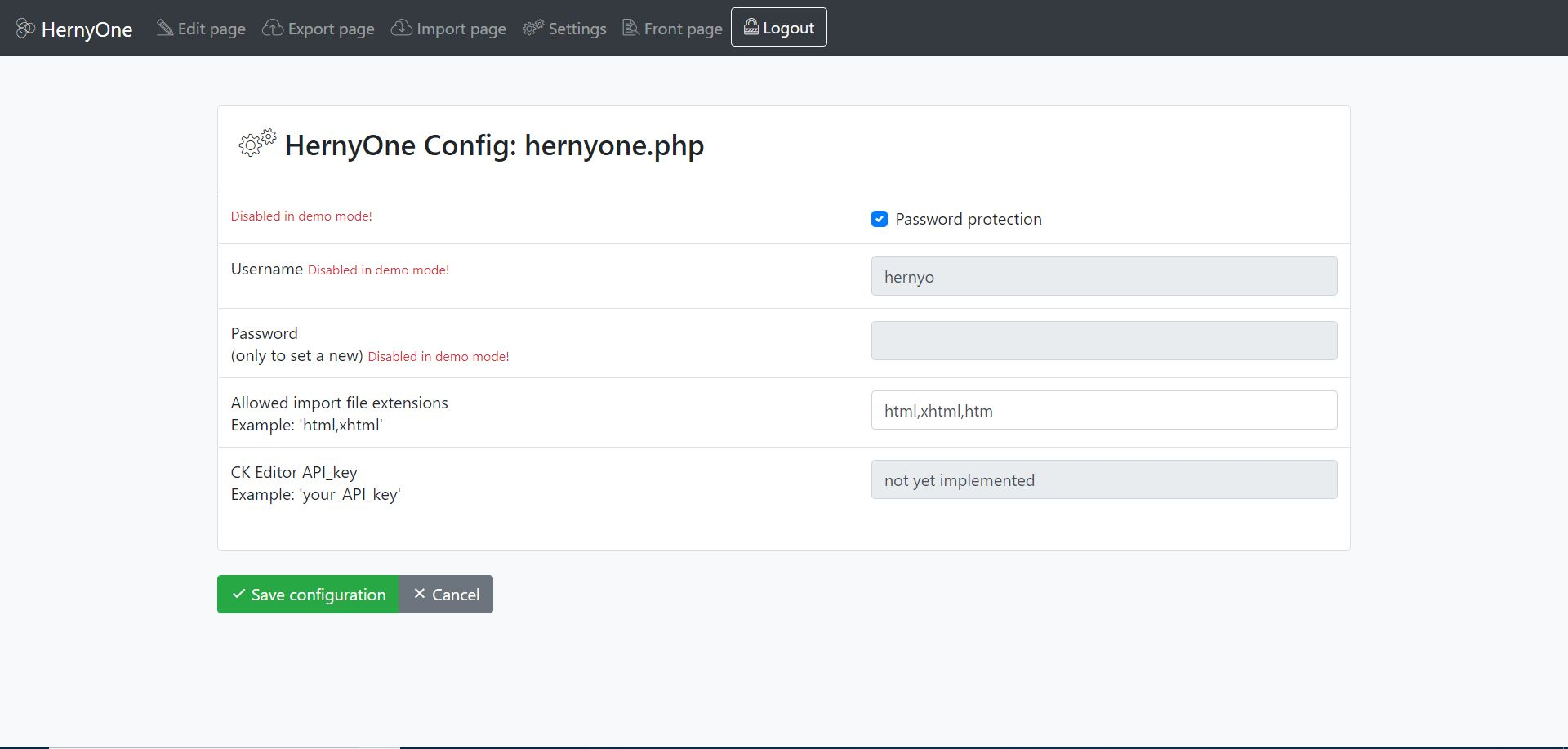 Hernyo One - Flat-file CMS PHP Screenshot 5