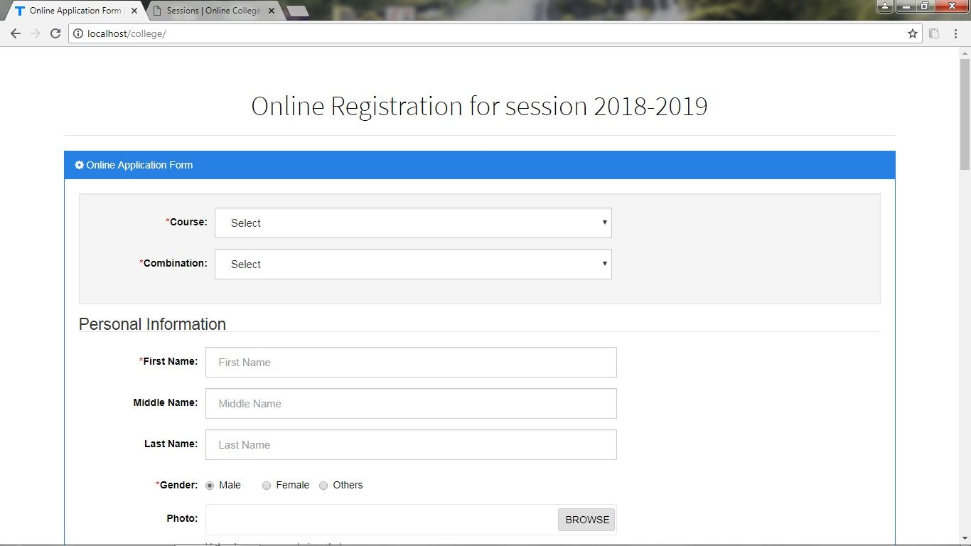 Online Student Admission System PHP Screenshot 7