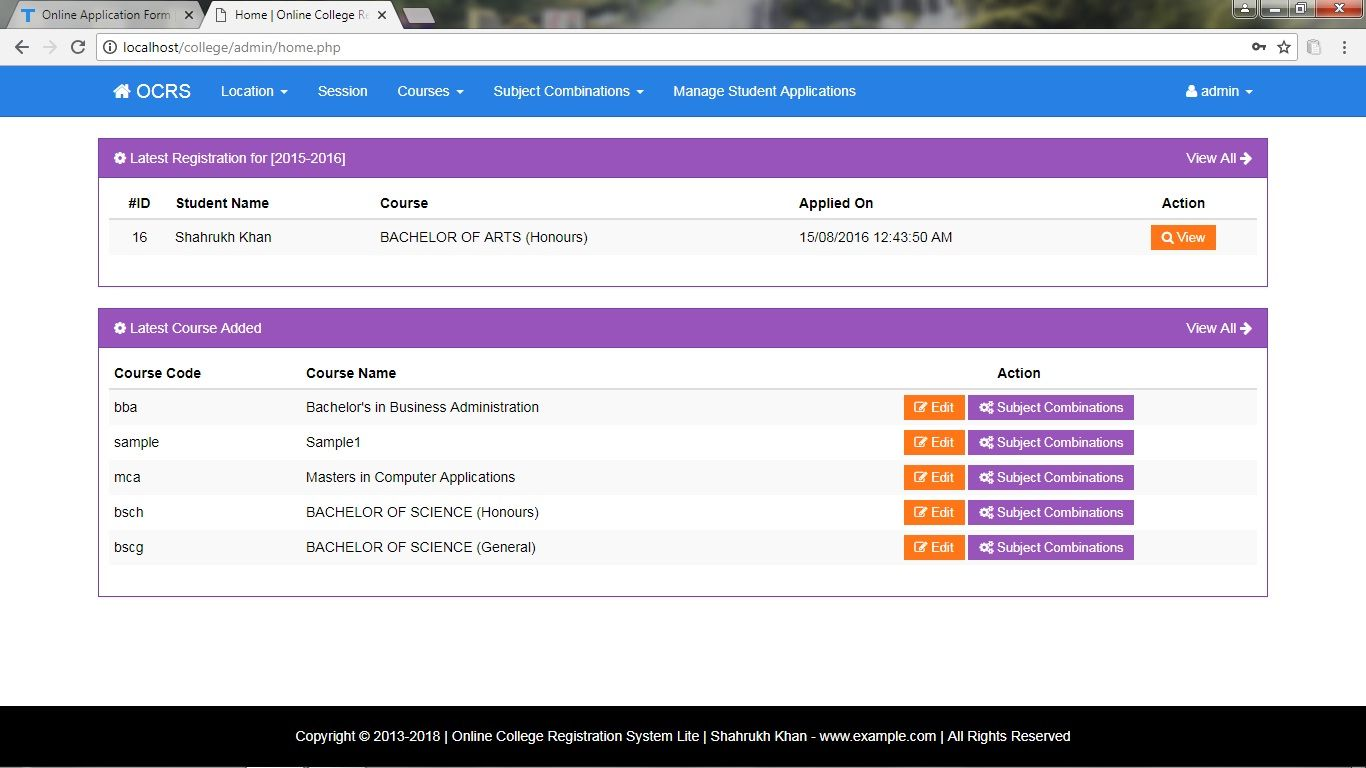Online Student Admission System PHP Screenshot 8