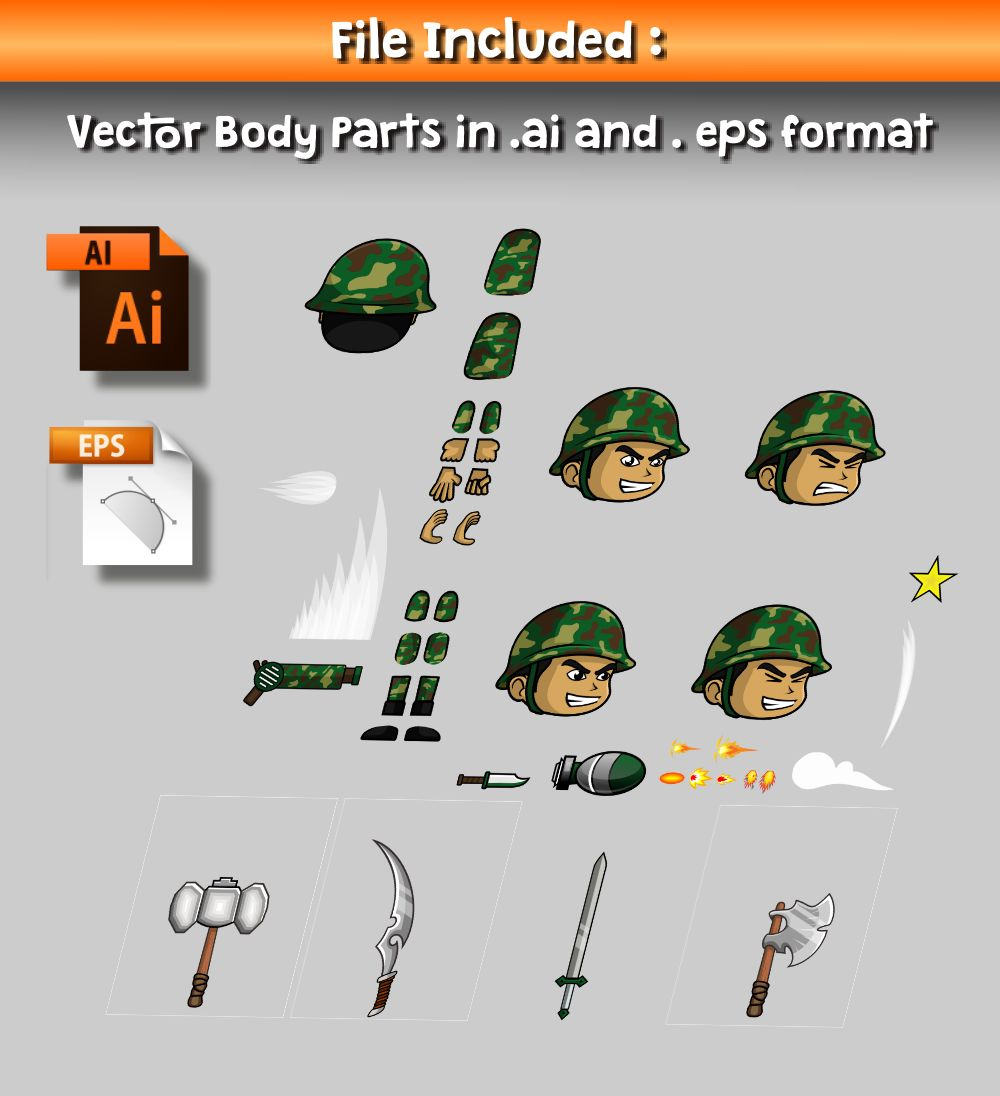 Green Soldier 2D Game Character Sprite Screenshot 2