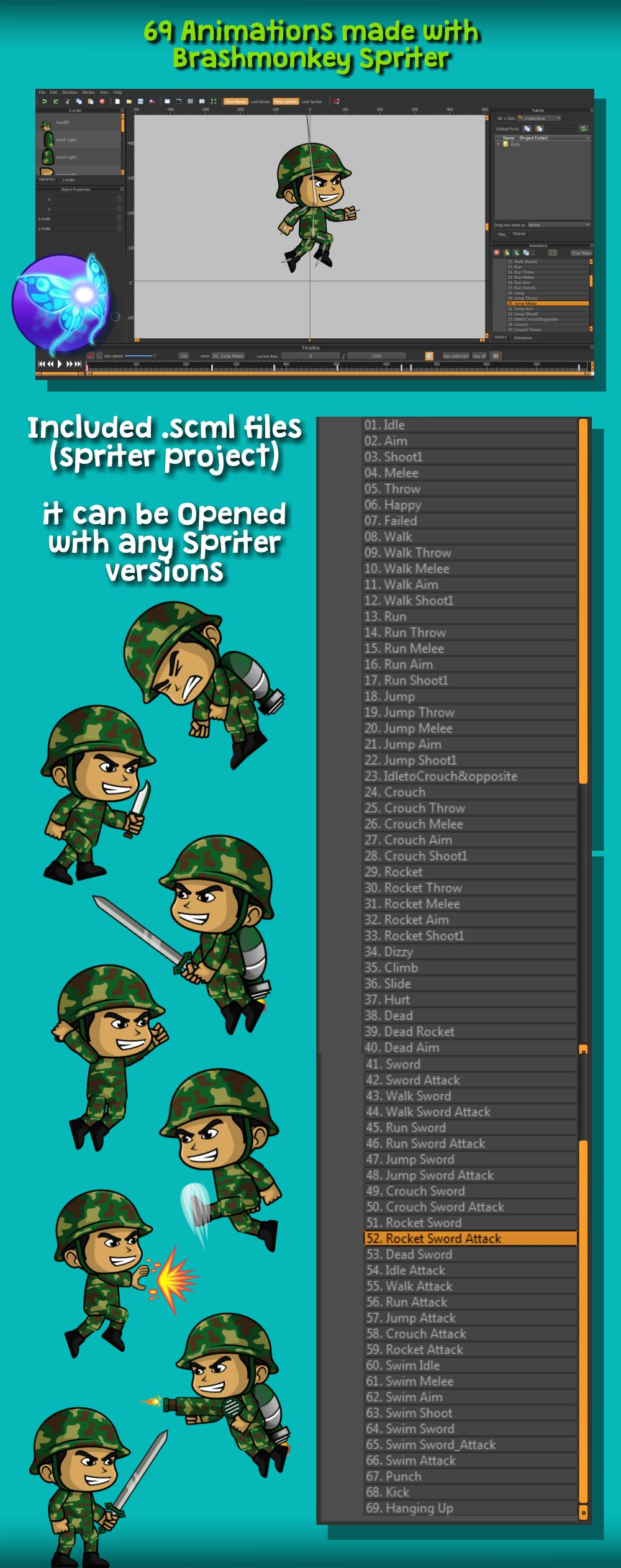 Green Soldier 2D Game Character Sprite Screenshot 4