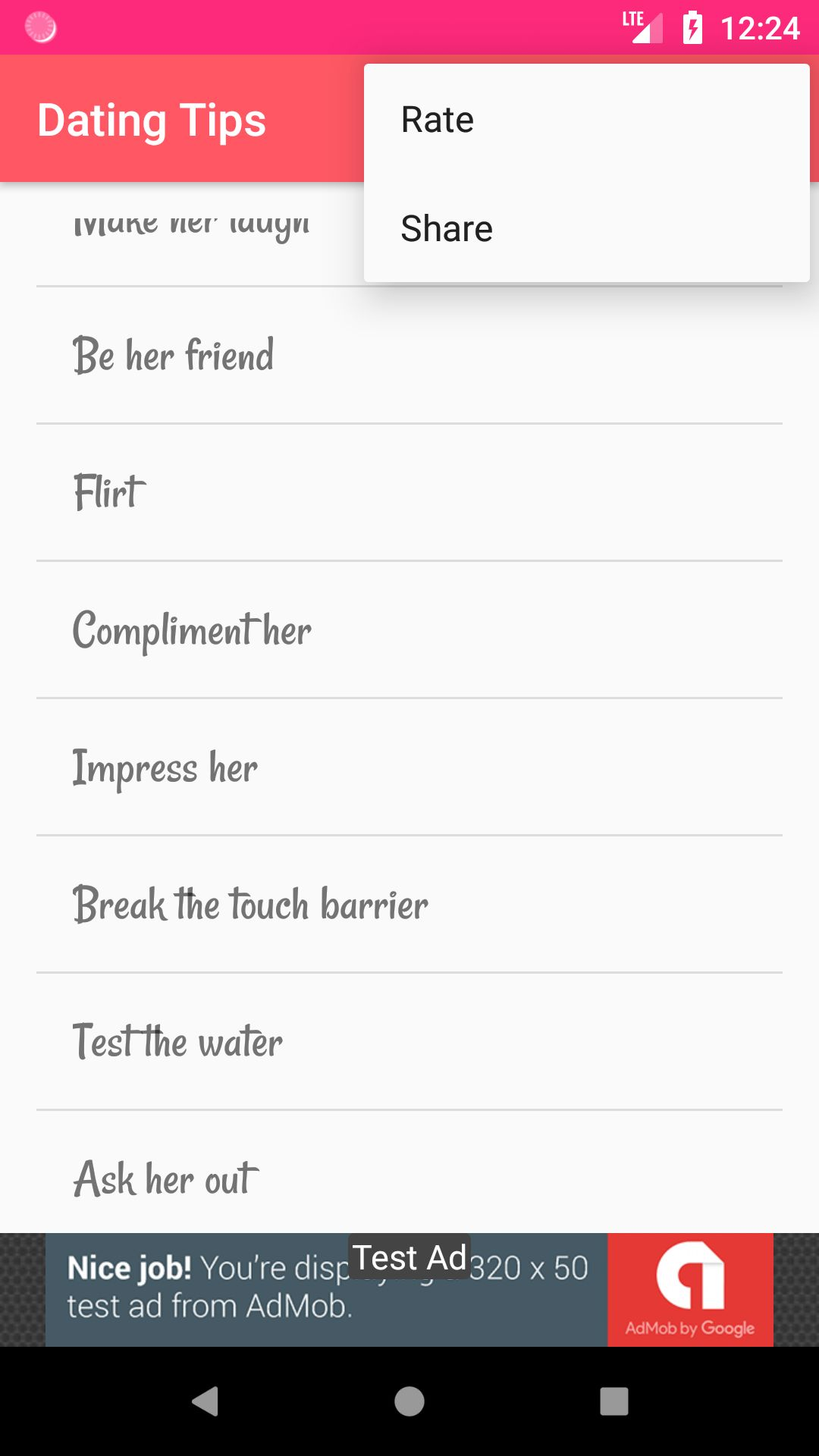 Dating Tips - Android App Source Code Screenshot 6