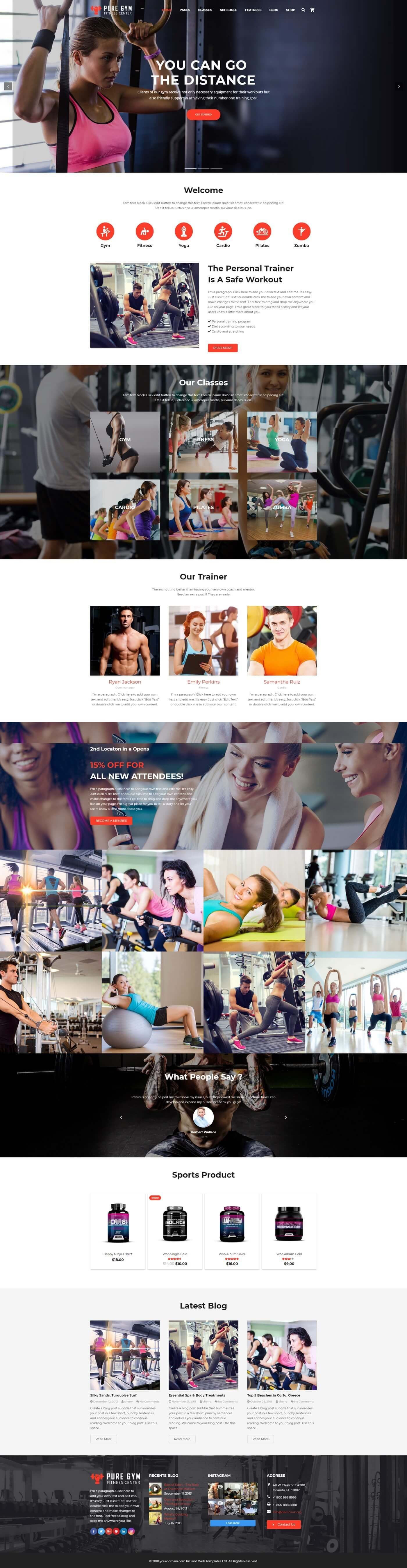 PureGym - Gym Fitness WordPress Theme Screenshot 1