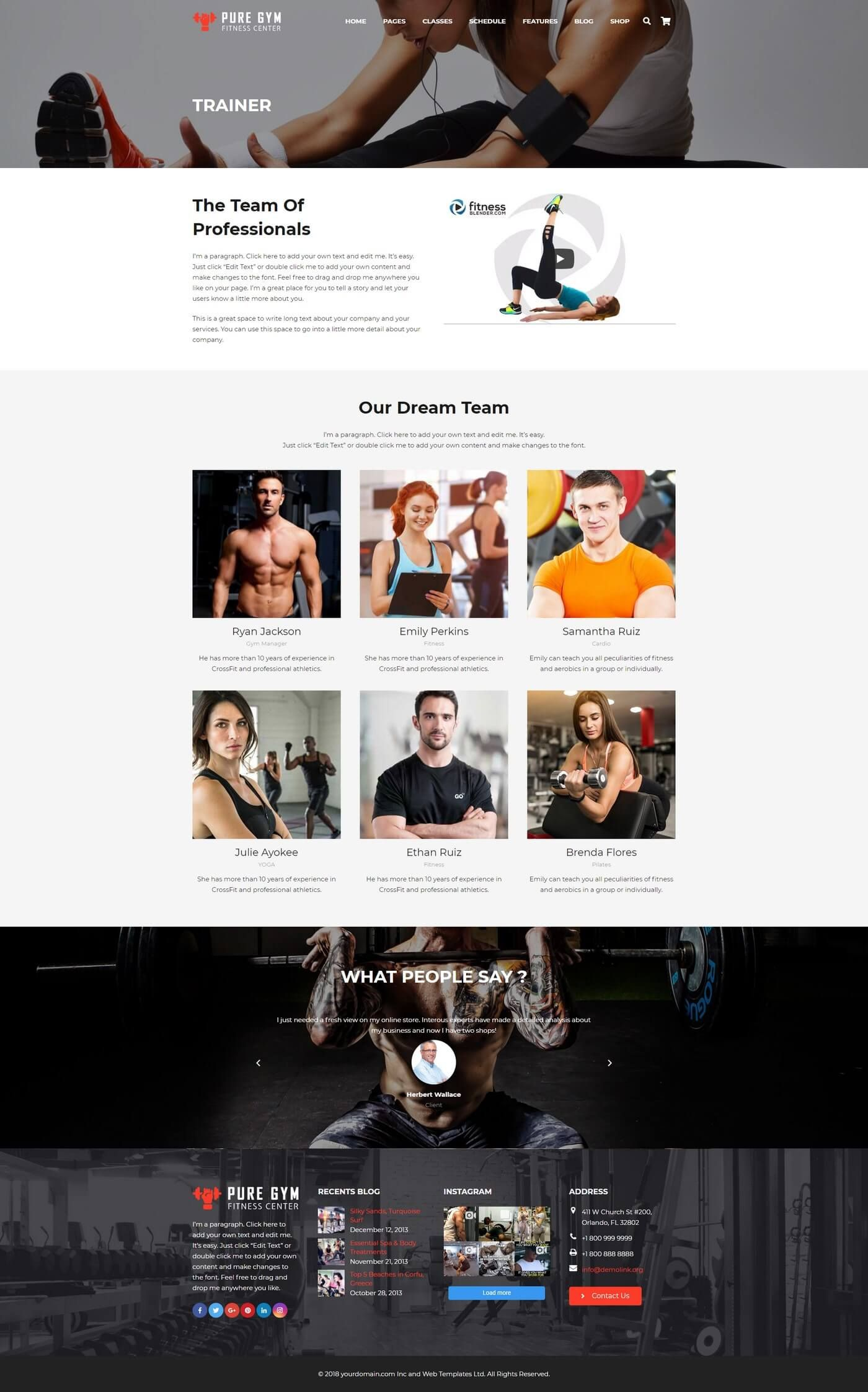 PureGym - Gym Fitness WordPress Theme Screenshot 3