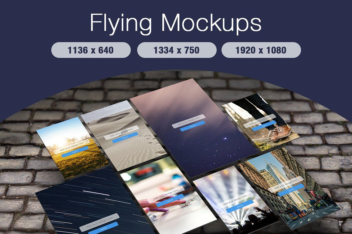 Flying Mobile Screen Mockups Screenshot 1