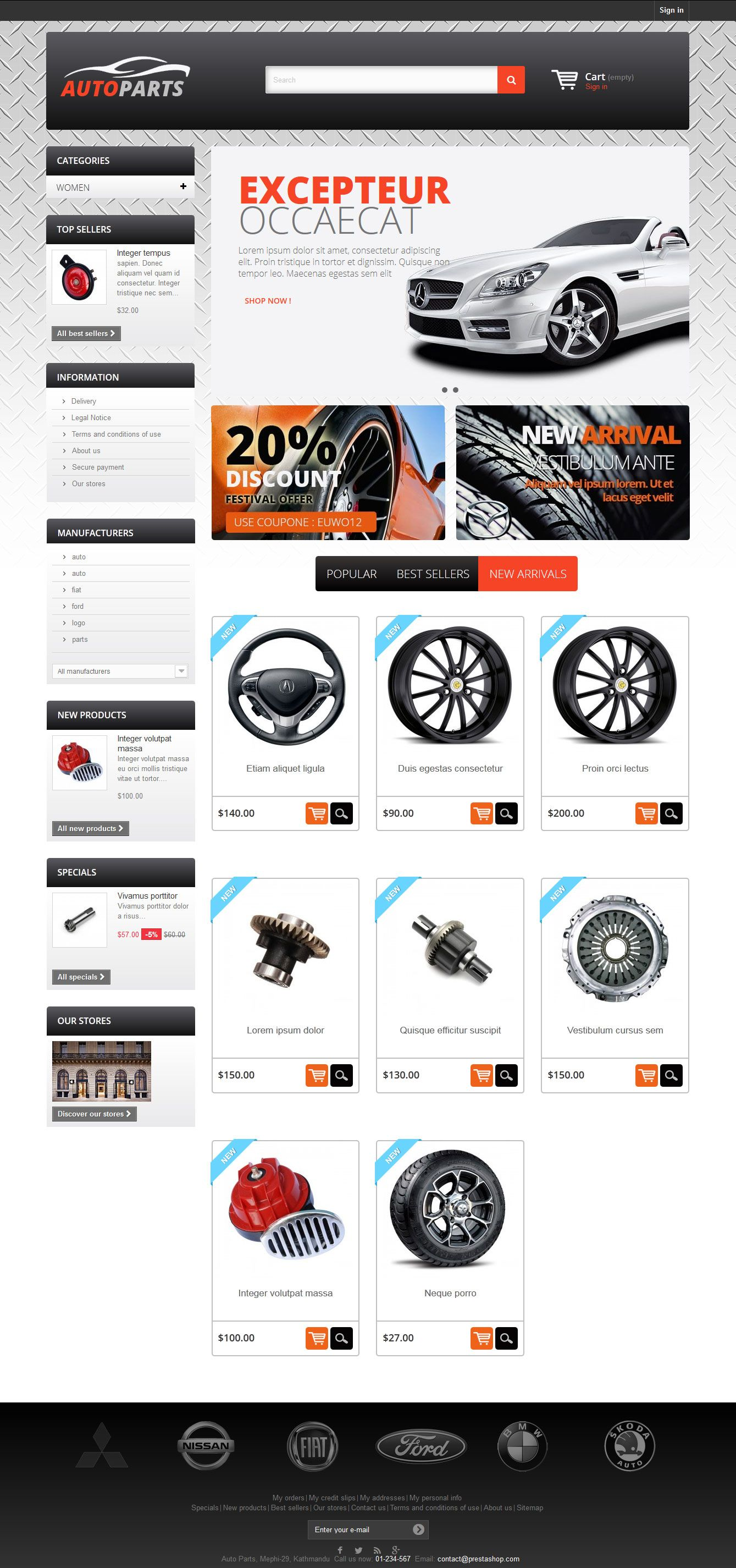 Auto Parts - PrestaShop Theme Screenshot 1