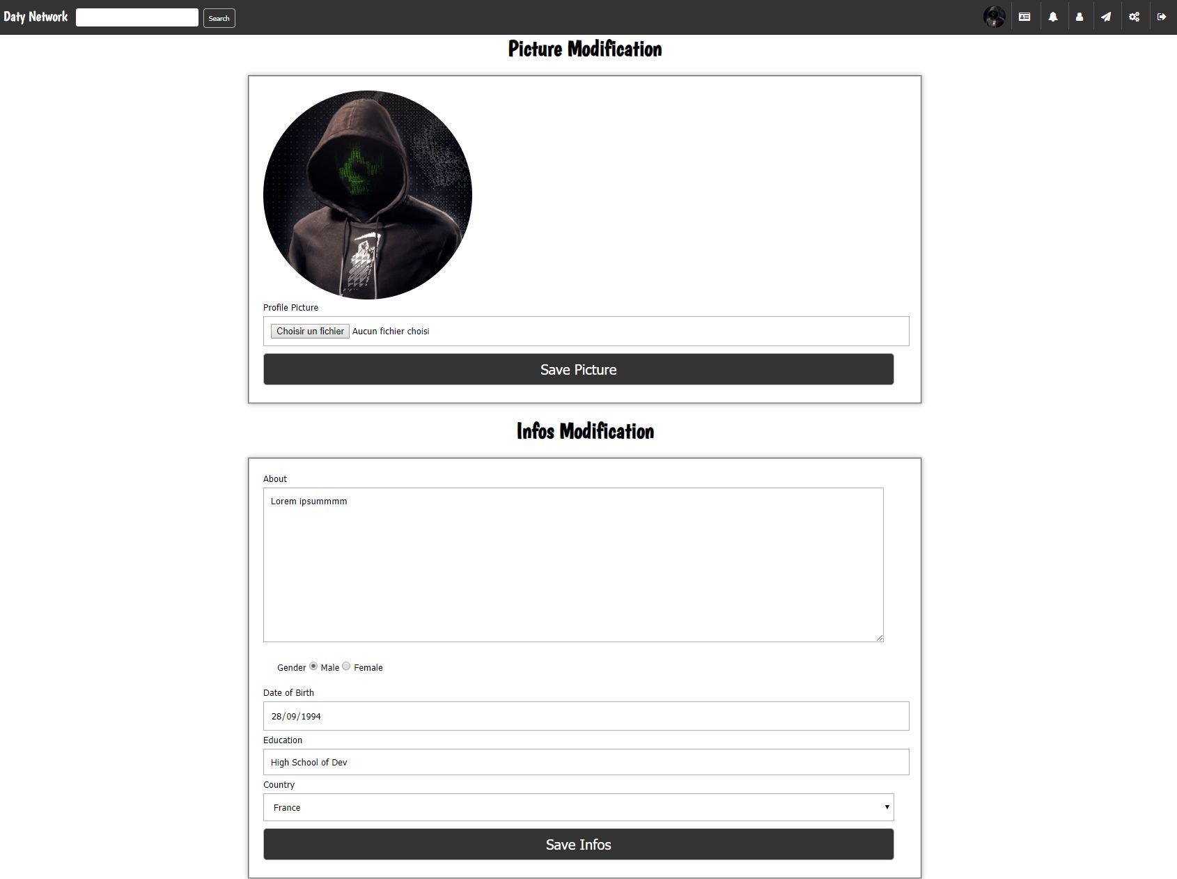 Daty - Micro Social Network PHP Screenshot 5