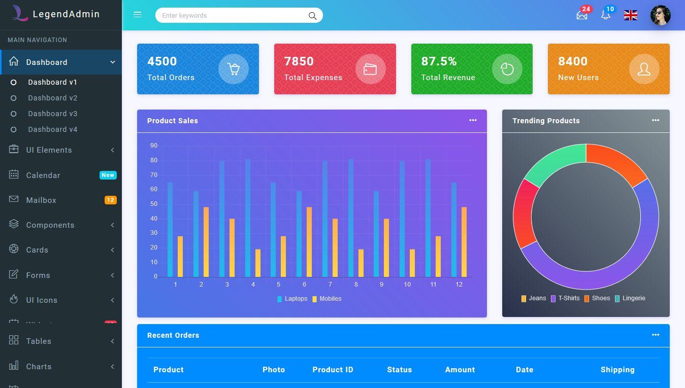 Legend - Bootstrap 4 Admin Dashboard Template Codester