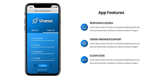 Uranus - App Landing HTML Template Screenshot 5