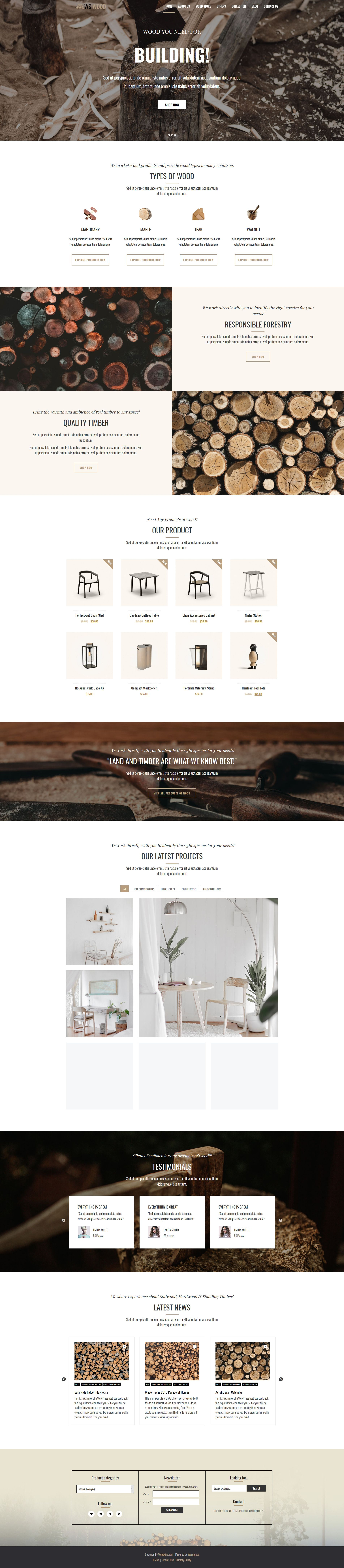 WS Wood - WordPress Theme Screenshot 1