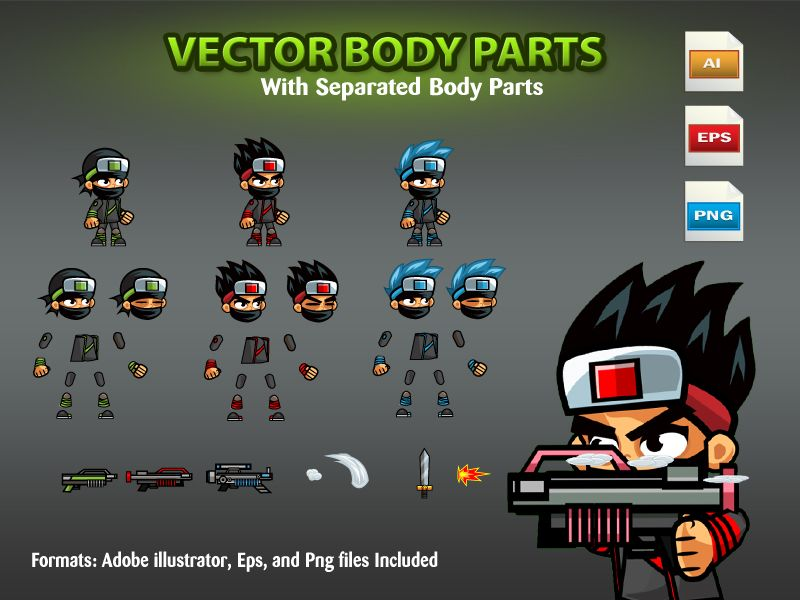 Ninja 2D Game Character SpriteSheets 03 Screenshot 2