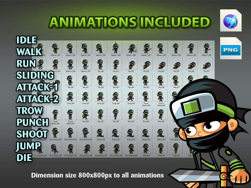 Ninja 2D Game Character SpriteSheets 03 Screenshot 4