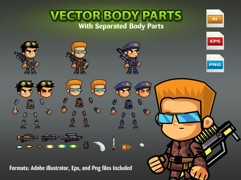 Soldiers 2D Game Character SpriteSheets 05 Screenshot 2