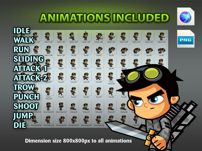 Soldiers 2D Game Character SpriteSheets 05 Screenshot 4