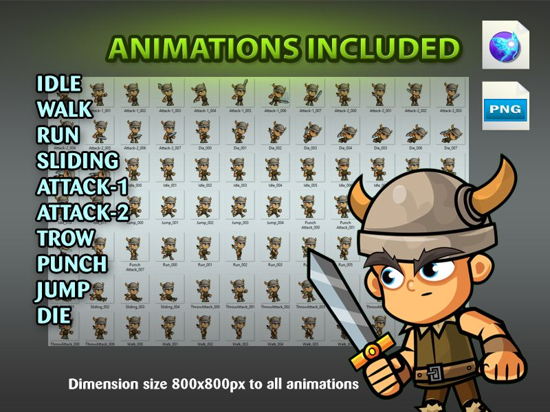 The Vikings 2D Game Character SpriteSheets 06 Screenshot 4