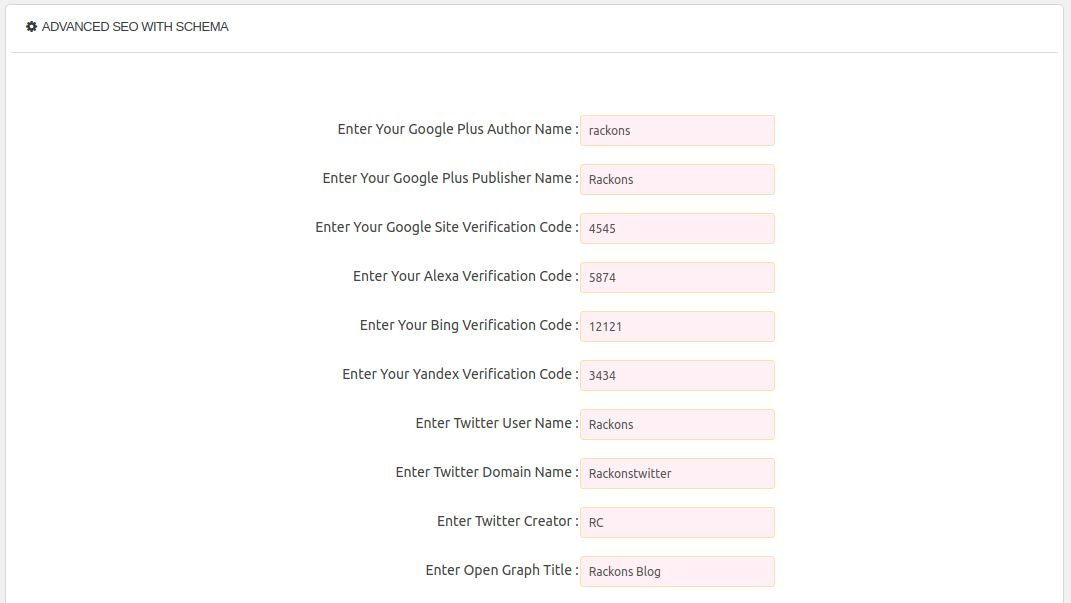 Advanced SEO With Schema Wordpress Plugin Screenshot 1