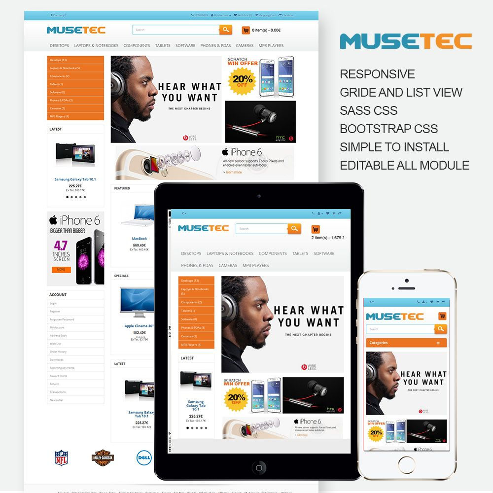 Muse Tec - Responsive OpenCart Theme Screenshot 1