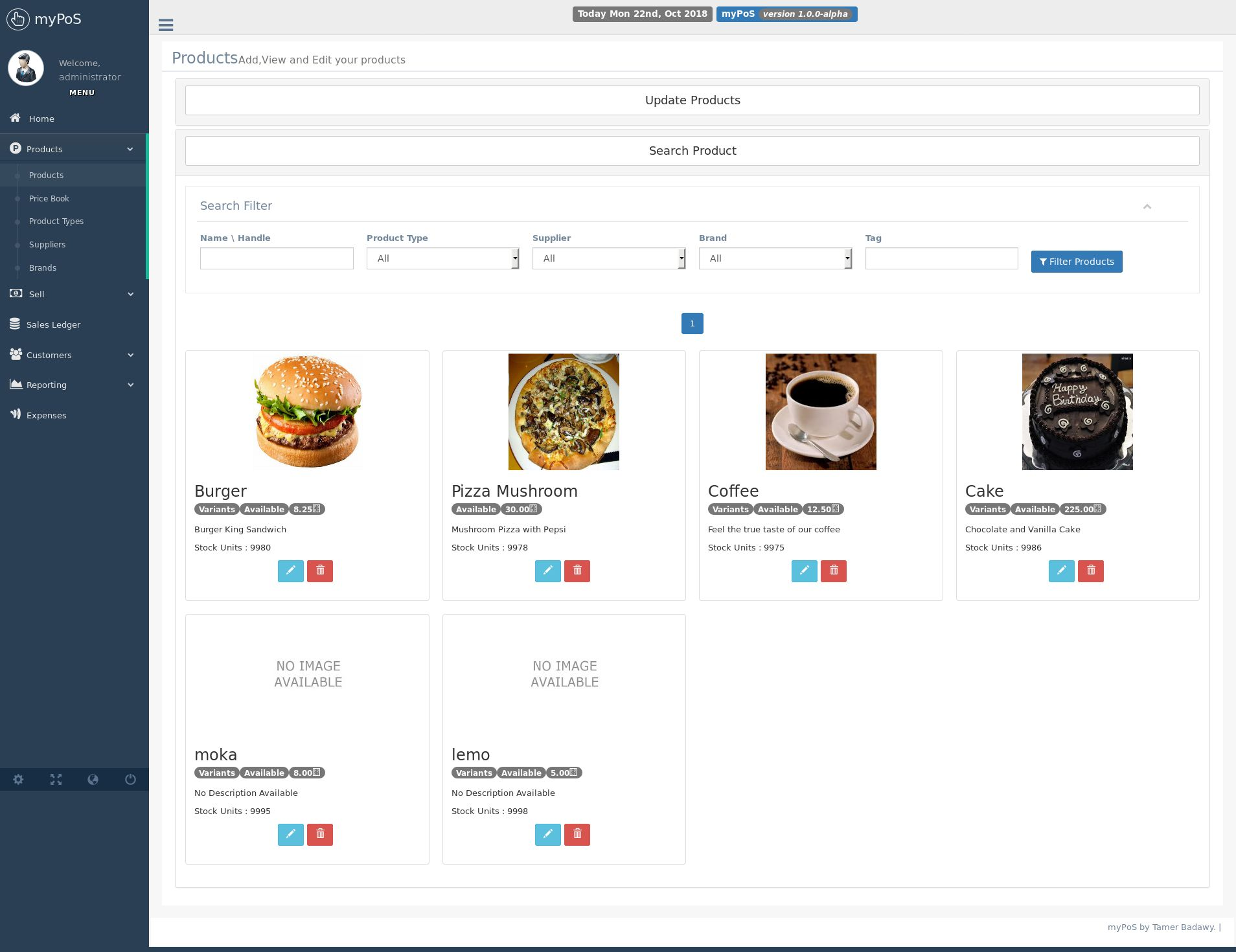 myPoS - PHP Point Of Sale Application Screenshot 2
