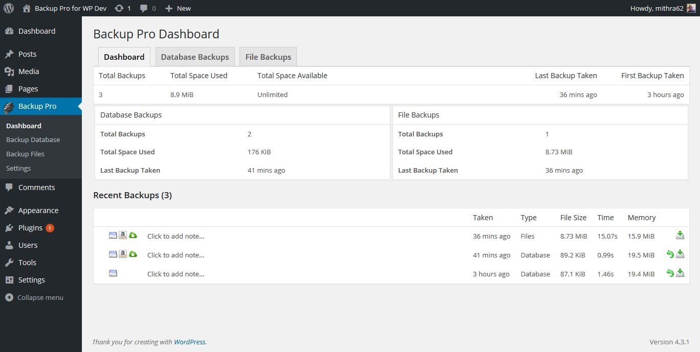 Backup Pro - WordPress Plugin Screenshot 2