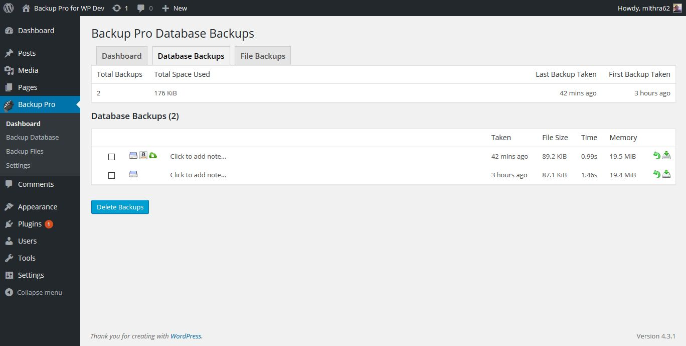 Backup Pro - WordPress Plugin Screenshot 4