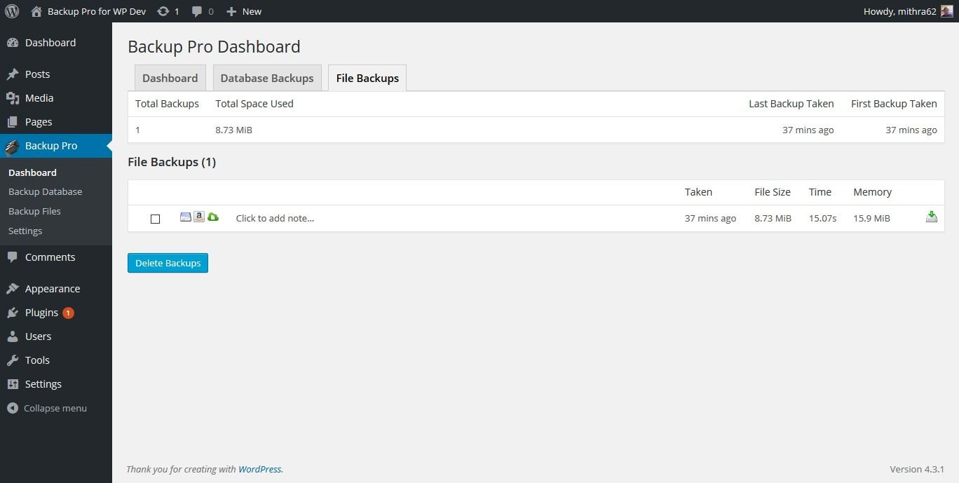 Backup Pro - WordPress Plugin Screenshot 5